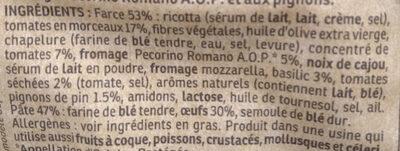 Tortellini Pesto Rosso Tomates Séchées & Pignons - Ingrediënten - fr