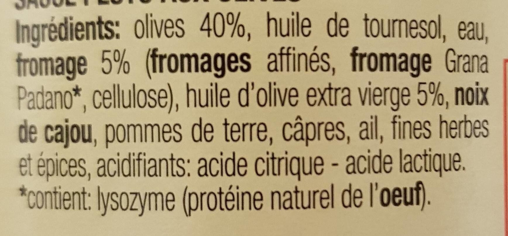 Pesto aux olives - Ingrediënten - fr