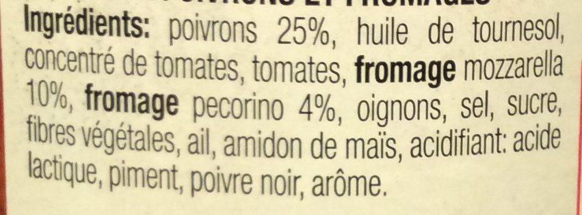 Pietro Castelli Sauce Pasta Poivron Fromage 190G - Ingrediënten - fr