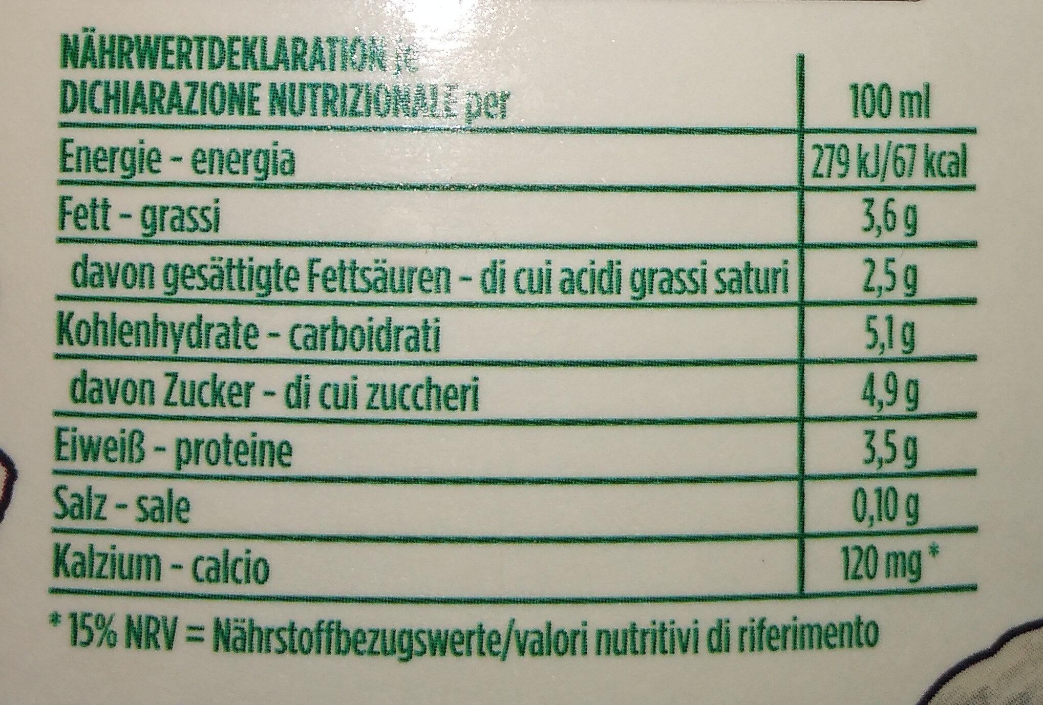 Latte fieno fresco di montagna intero - Valori nutrizionali - it