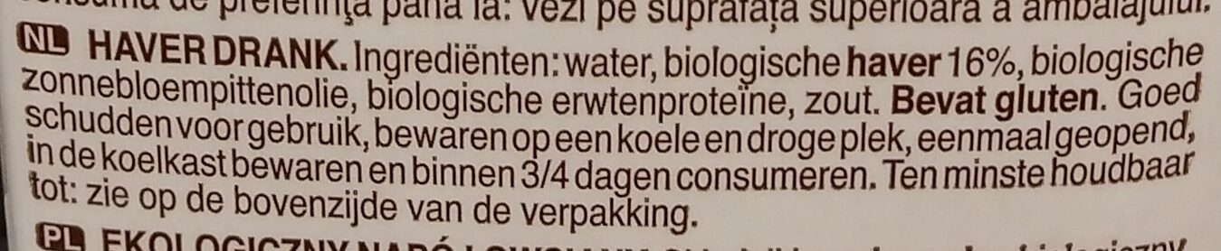Oat barista bio - Ingredients - nl