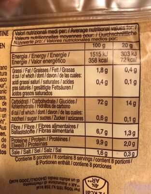 Crackers di riso integrali - Informação nutricional - fr