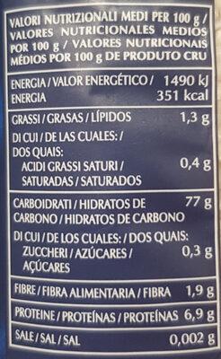 Riso arborio risotto - Información nutricional