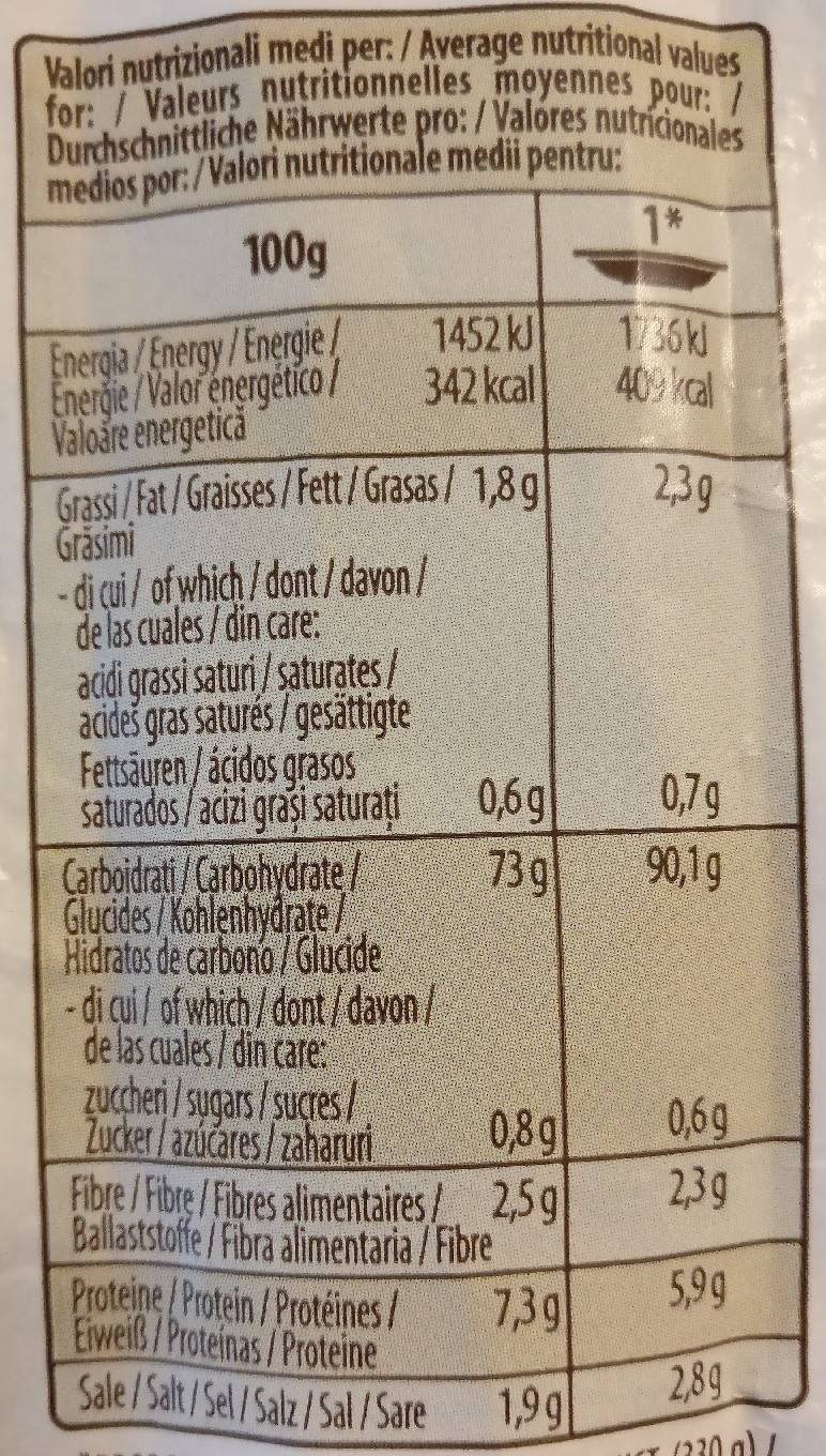 Risotto Tartufo - Nutrition facts
