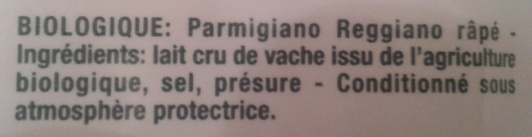 Parmigiano Reggiano AOP râpé Bio (28,4% MG) - 50 g - Castelli - Ingrediënten - fr
