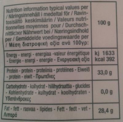 Parmigiano Reggiano AOP râpé Bio (28,4% MG) - 50 g - Castelli - Voedingswaarden - fr