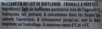 Mozzarella di latte di Bufala (25% MG) - Ingredients