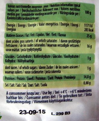 Mozzarella di latte di Bufala (25% MG) - Nutrition facts