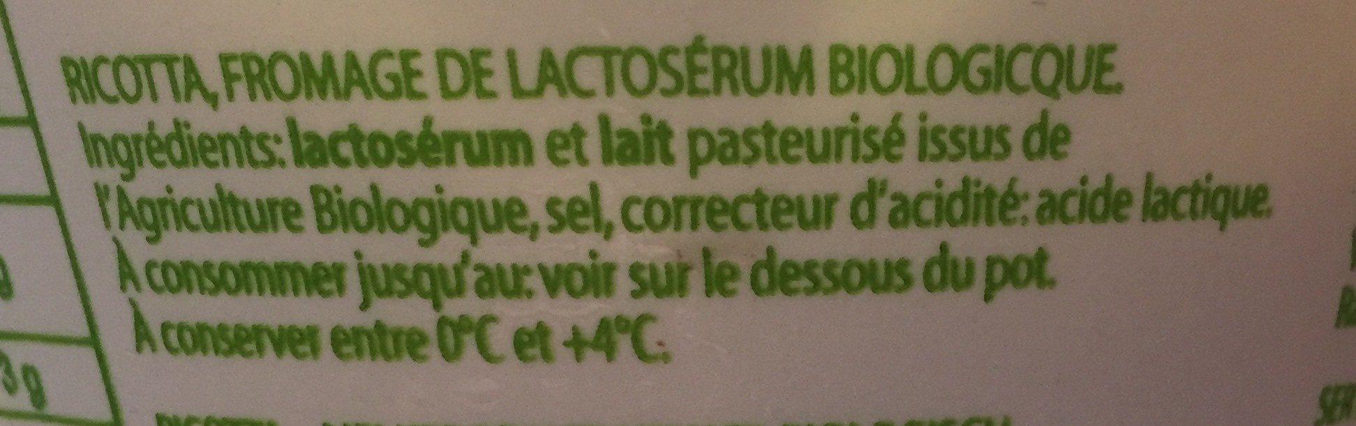 Ricotta bio - Ingredients - fr