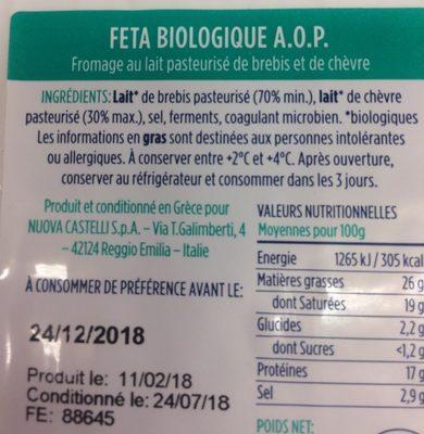 Feta bio - Ingrédients - fr