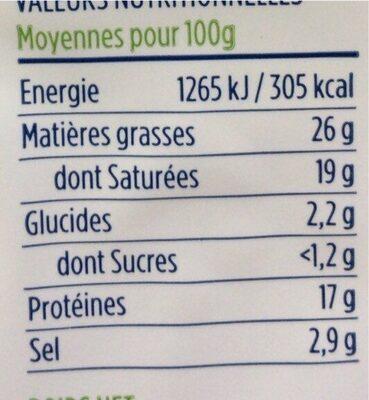 Feta bio - Informations nutritionnelles - fr