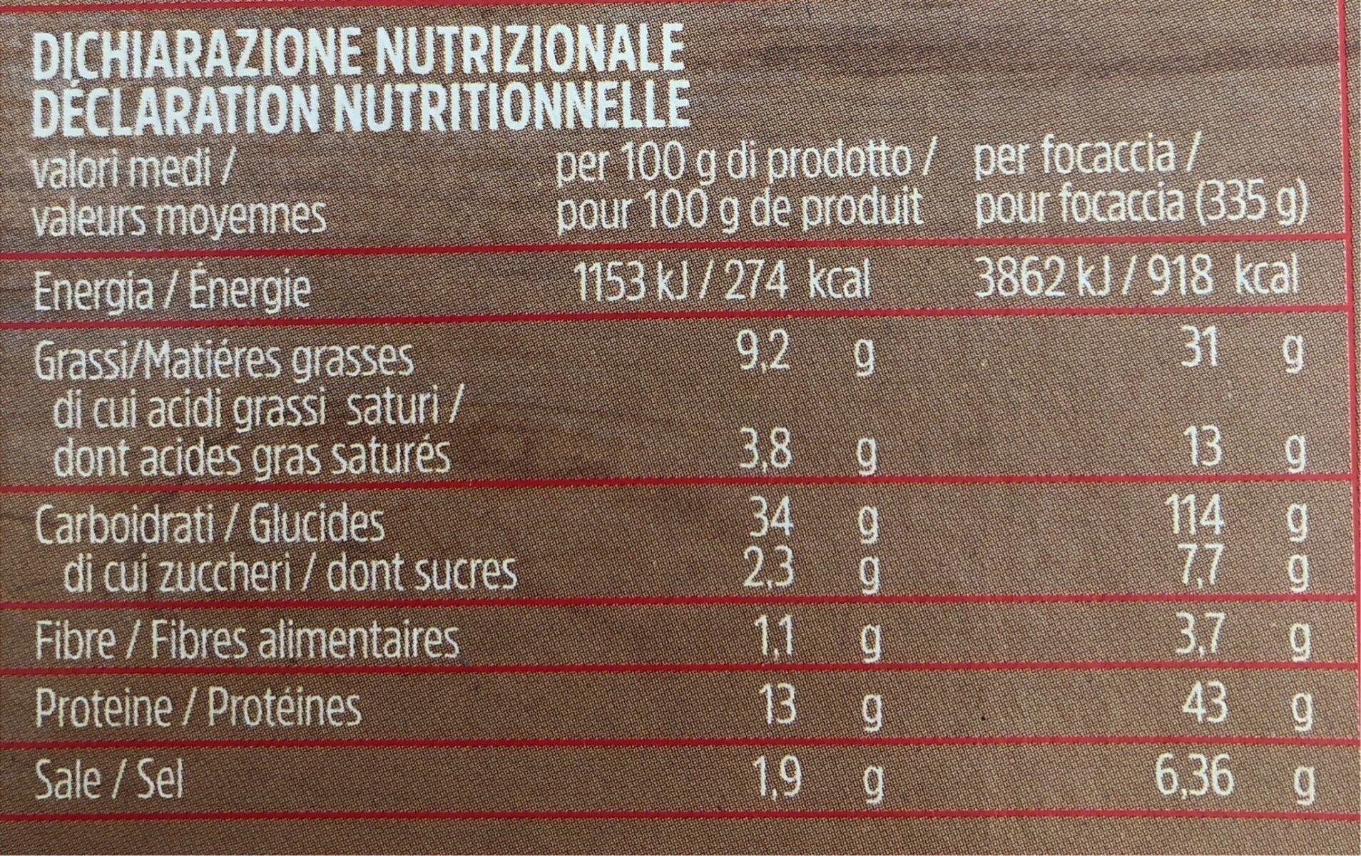 Foccacia - Informations nutritionnelles - fr