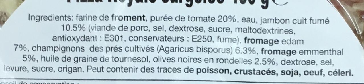 Pizza Royale surgelée - Ingredients