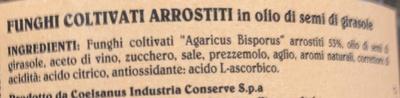 Coelsanus - Funghi Coltivati Arrostiti - Ingredients