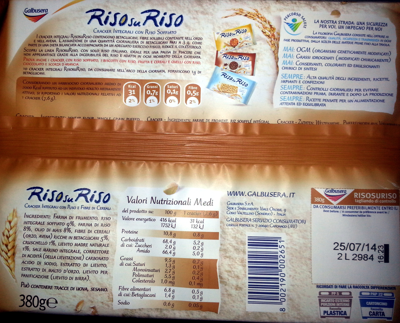 Cracker integrali con riso e fibre vegetali - Prodotto