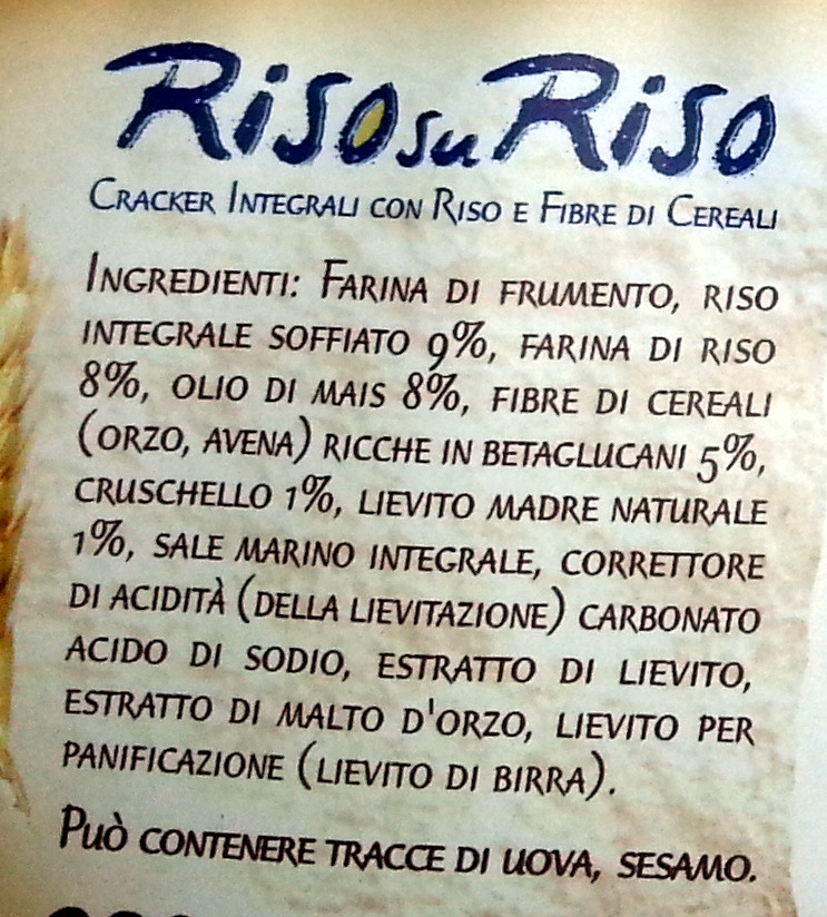Cracker integrali con riso e fibre vegetali - Ingredienti