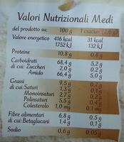 Cracker integrali con riso e fibre vegetali - Informazioni nutrizionali