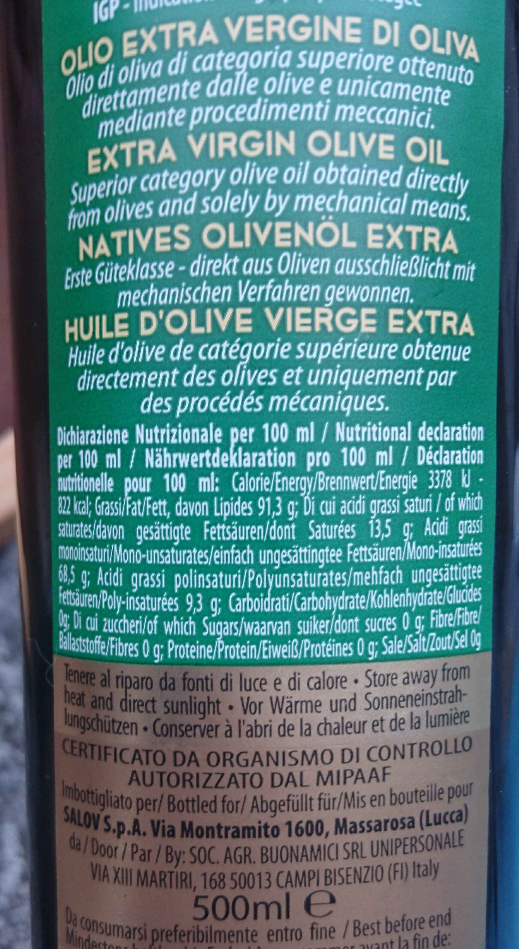 Olio extra vergine di oliva - Ingredienti - it