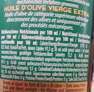 Olio extra vergine di oliva - Valori nutrizionali - it