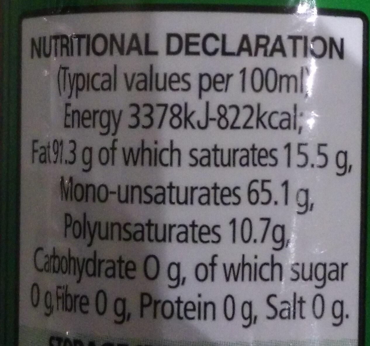 Extra Virgin Olive Oil - Informations nutritionnelles