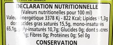 Huile d'olive vierge extra bio - Voedingswaarden - fr