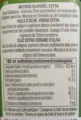 Huile d'olive extra vierge - Informations nutritionnelles - fr