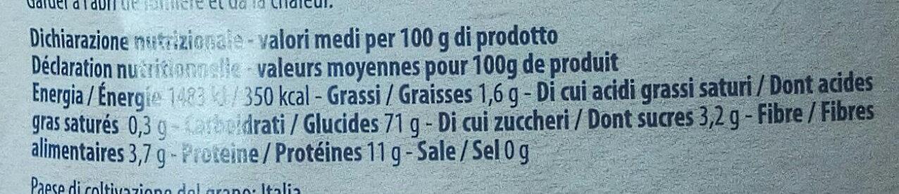 Fusili di semola di grano duro con canapa biologica - Nutrition facts