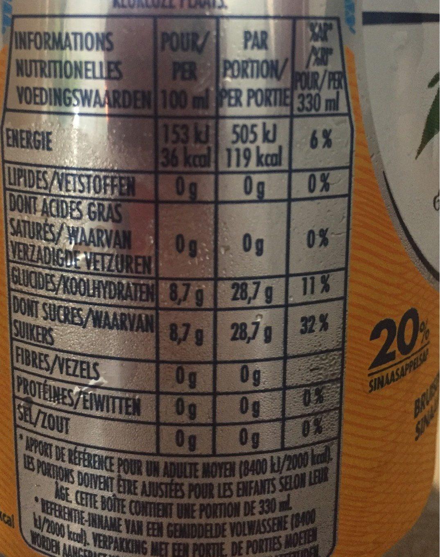 Boisson aromatisée pétillant orange - Informations nutritionnelles - fr
