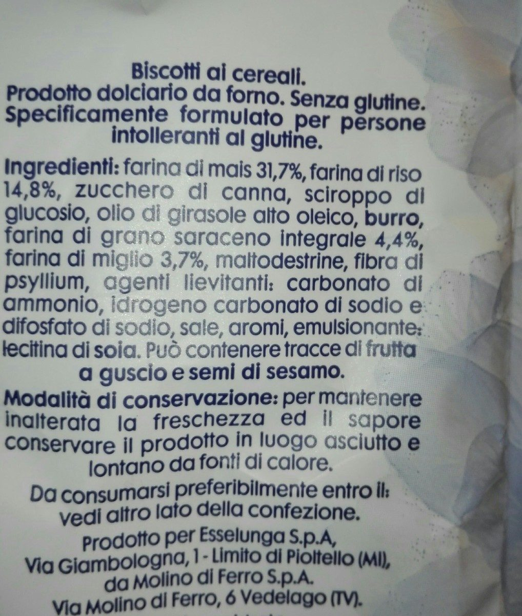 Biscotti senza glutine ai cereali - Ingredienti