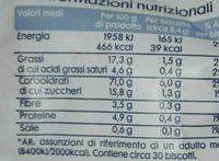 Biscotti senza glutine ai cereali - Informazioni nutrizionali