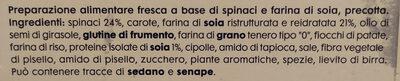 Burger vegetali Soia e spinaci - Ingrediënten - it