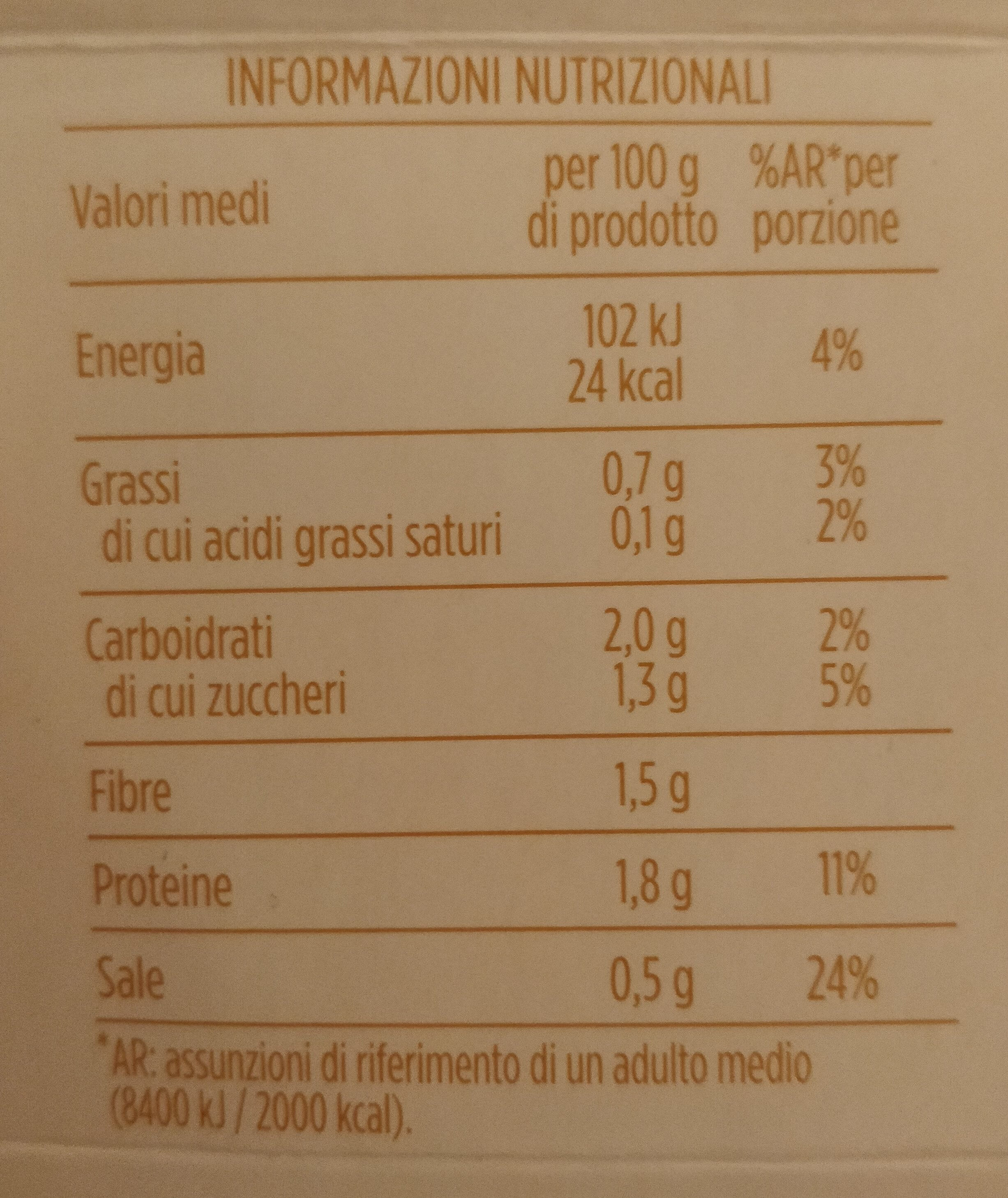 Crema di verdure con zucchine e patate - Informations nutritionnelles - it