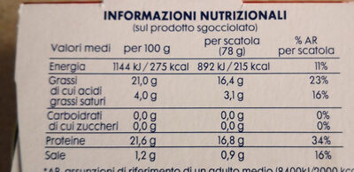tonno all'olio di oliva - Nutrition facts
