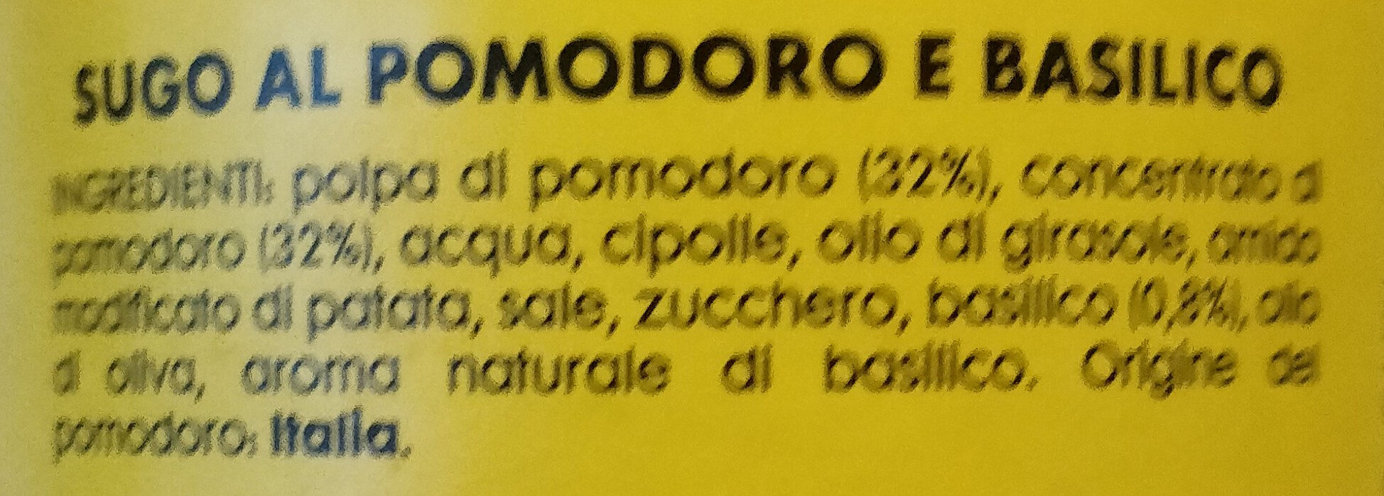 sugo al pomodoro e basilico - Ingredients - it
