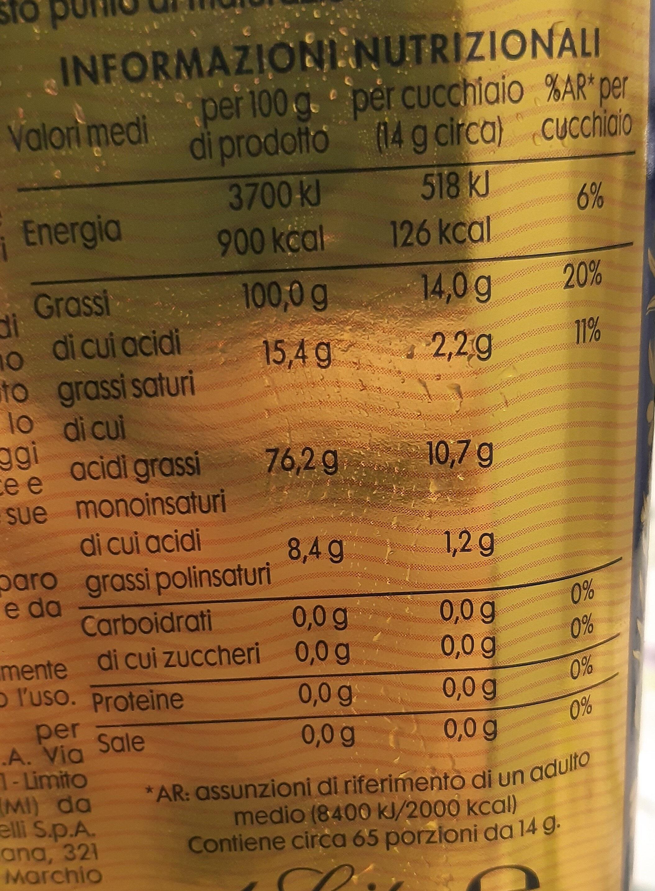 Olio extra vergine di oliva - Informazioni nutrizionali - it