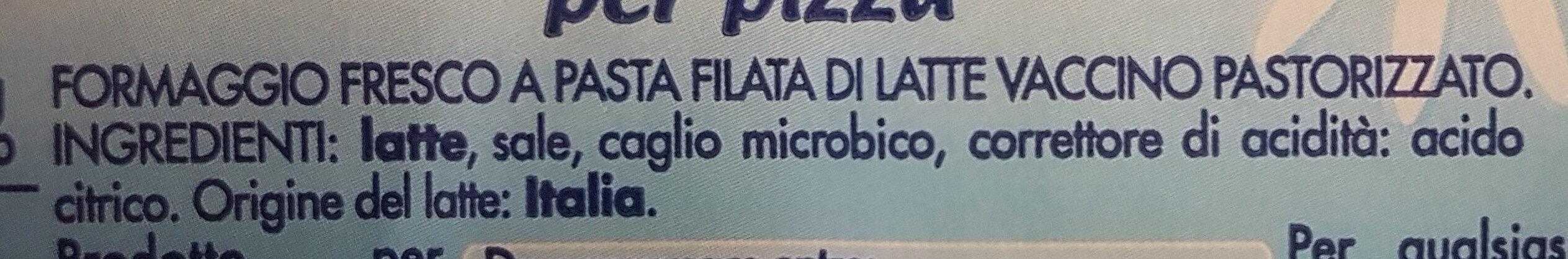 Mozzarella per pizza Esselunga - Ingredients