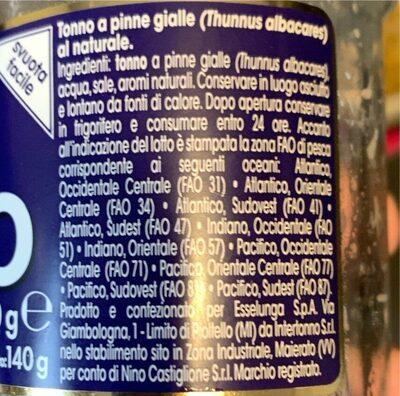 Filetti di tonno - Valori nutrizionali - it