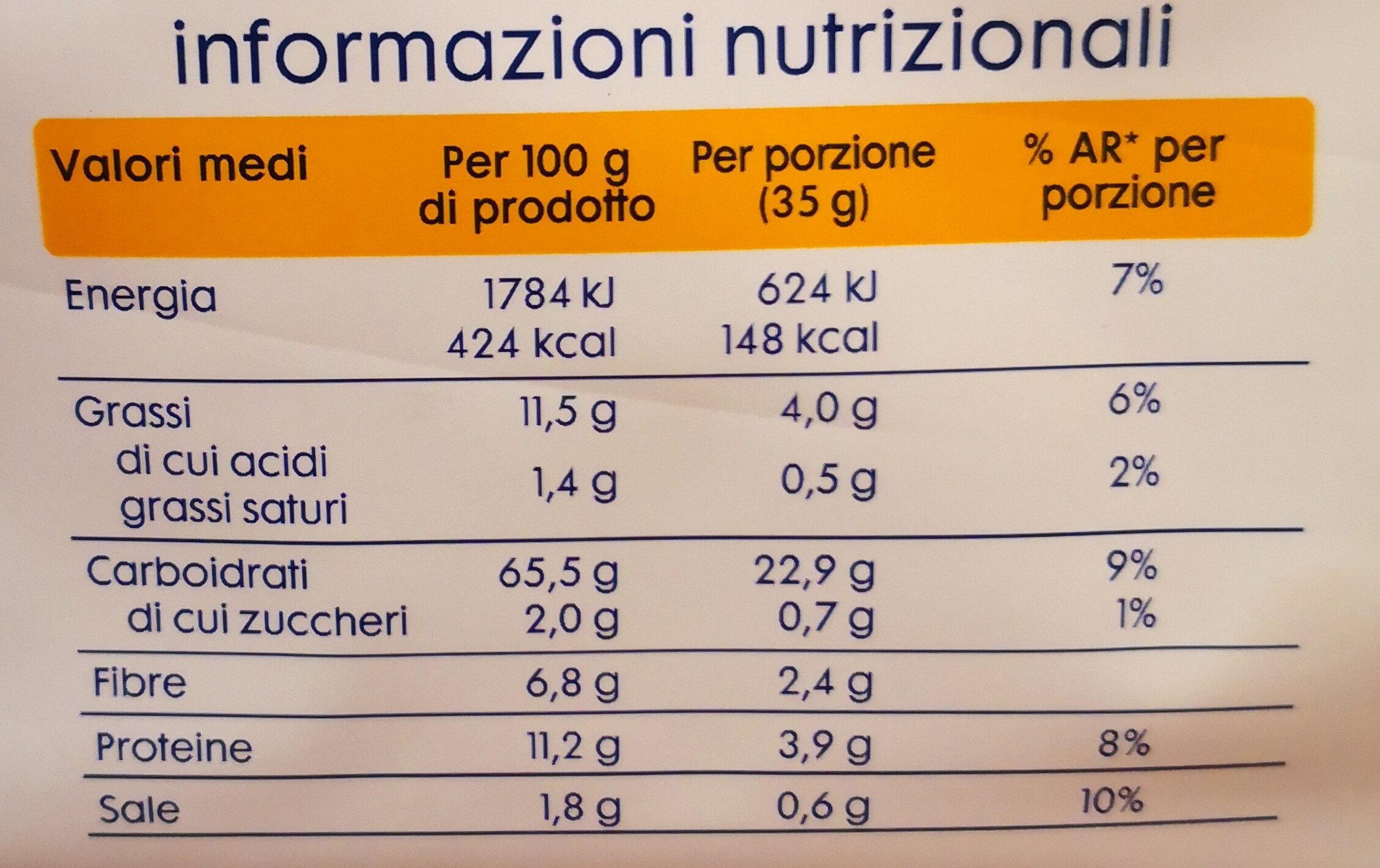 equilibrio crackers integrali - Nutrition facts