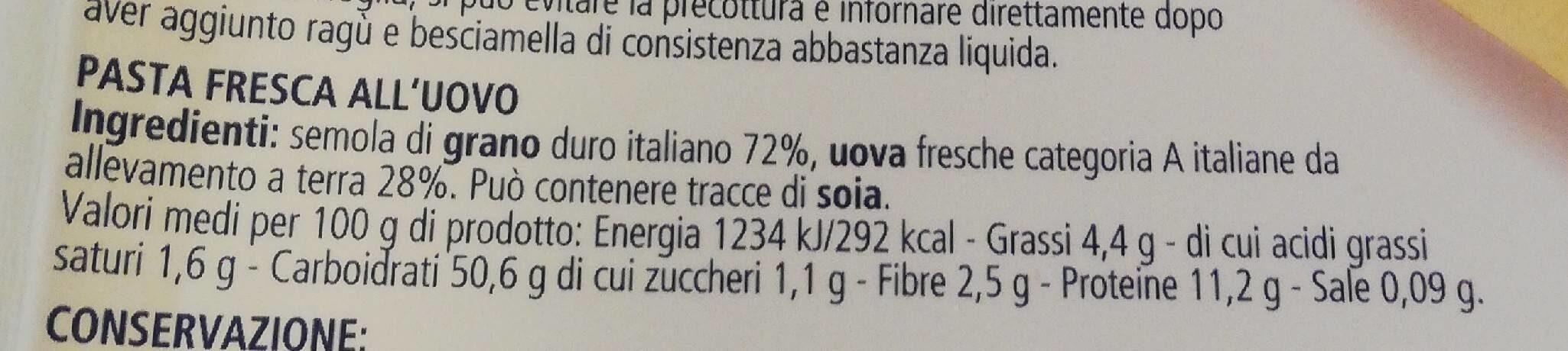 Sfoglia classica - Nutrition facts - it
