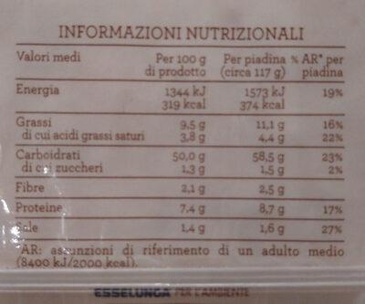 Piadina romagnola IGP alla riminese Esselunga - Nutrition facts