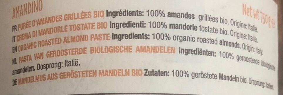 Amandino Purée Amandes Grillées bio - Ingredients - fr