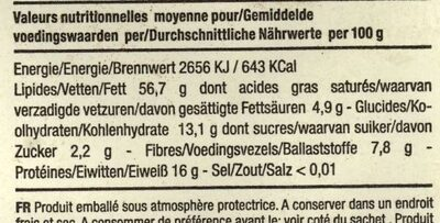 Amandes Grillées BIO - Informations nutritionnelles
