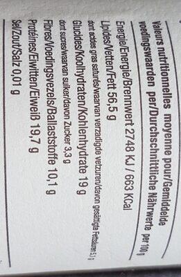 Amandino Purée d'amandes grillées Bio - Valori nutrizionali - fr