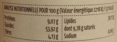 Chocobella Noisettes et chocolat - Valori nutrizionali - fr