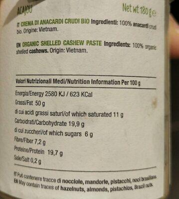 Purée de noix de cajou bio - Informations nutritionnelles - fr
