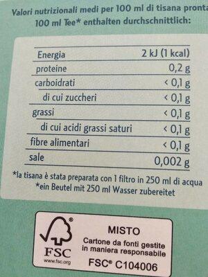 Tisana fredda gambe leggere - Nutrition facts - it