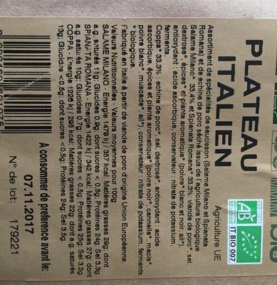 Plateau italien - Ingrédients - fr