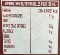 Huile olive vierge extra Vivace 75 CL - Informations nutritionnelles - fr