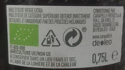 Huile d'olive vierge extra Bio Delicato 75 CL - Ingrédients - fr