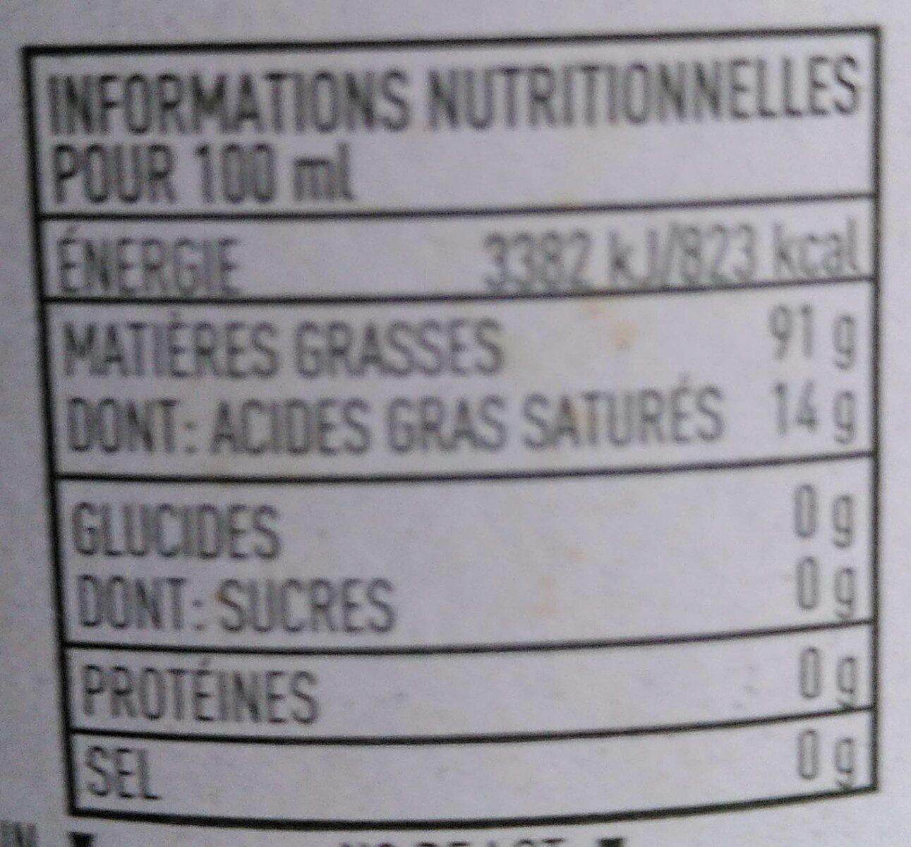 Huile d'olive vierge extra Bio Delicato 75 CL - Informations nutritionnelles - fr